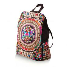 HOBBAGGO Vintage Women Ethnic Canvas Backpack Handmade Flower Embroidery Travel Bags Schoolbag Backpacks Satchel  88 New new listing classic red embroidered ethnic bags brand canvas handmade pompon women shoulder bags