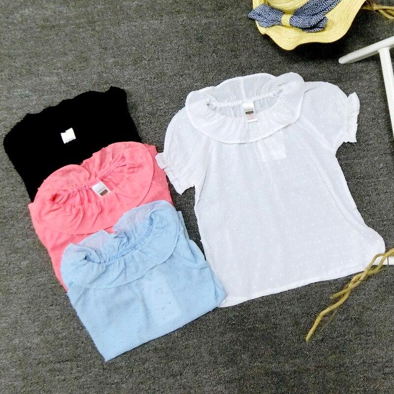 Summer Baby girls polka dot blouses kids cotton princess ruffles sleeve shirts Lotus leaf collar shirt girl cute fashion clothes