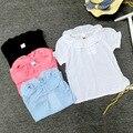 Verão Bebê meninas polka dot blusas de algodão crianças princesa babados camisas de manga folha de Lótus colarinho da camisa da menina roupas da moda bonito