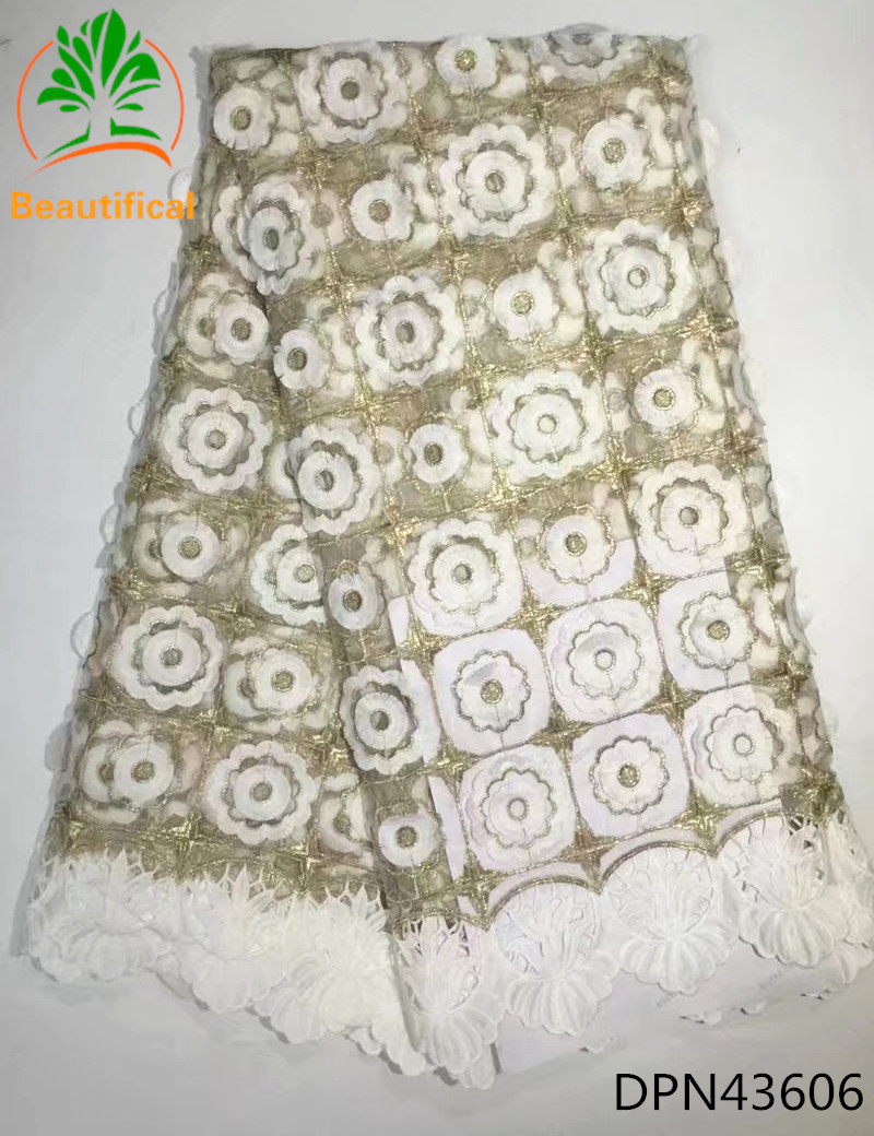 Beautifical White african lace fabric 2017 high quality lace new arrival french lace fabric 5 yards for women adress DPN436 ...