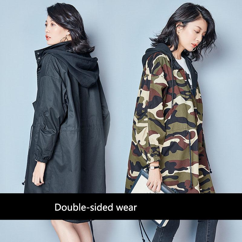 Autumn Plus Size Women Double Faced Windbreaker Long Coat Hooded Camouflage Jacket Pregnancy Clothes Winter Maternity Outerwear 2018 new autumn winter large size women windbreaker coat solid color long section single breasted women windbreaker coat ly0043