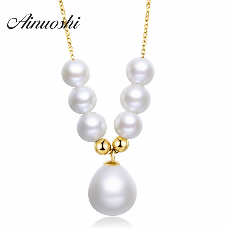 New Fashion Pearl Love Pure Real Solid 18k Yellow Gold Fresh Water Necklace Women Chain Gift Link