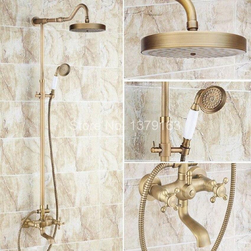 Antique Brass Two Cross Handles Bathroom Rain Shower Faucet Set Tub Mixer Tap + 7.7 Round Rain Shower Head + Handshower ars099