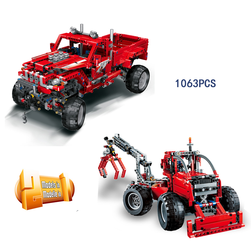 Hot Technology Off-road Pickup Truck Building Block 2in1 Bidirectional Engineering Vehicle Bulldozer Bricks Toys for Kids Gifts hot technician technics extreme adventure 2in1 building block model tracked vehicle bricks 42069 toys collection for kids gifts
