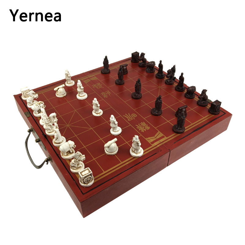 Yernea High-grade Wooden Chinese Chess Game Set Folding Chessboard Chinese Traditions Chess Resin Chess Pieces New Board Game все цены