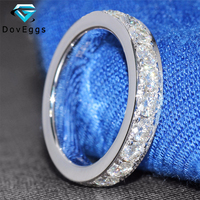Genuine 14kt 585 White Gold 2.2 CTTW Lab Grown Moissanite Diamond Engagement Full Eternity Ring Wedding Band for Women