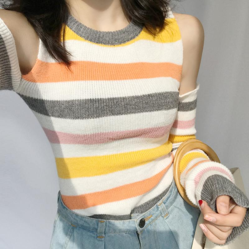 New 2017 Korean Chic Fashion Rainbow Hollow Out Stripe Strapless Long Sleeved Slim Women Sweater 92615