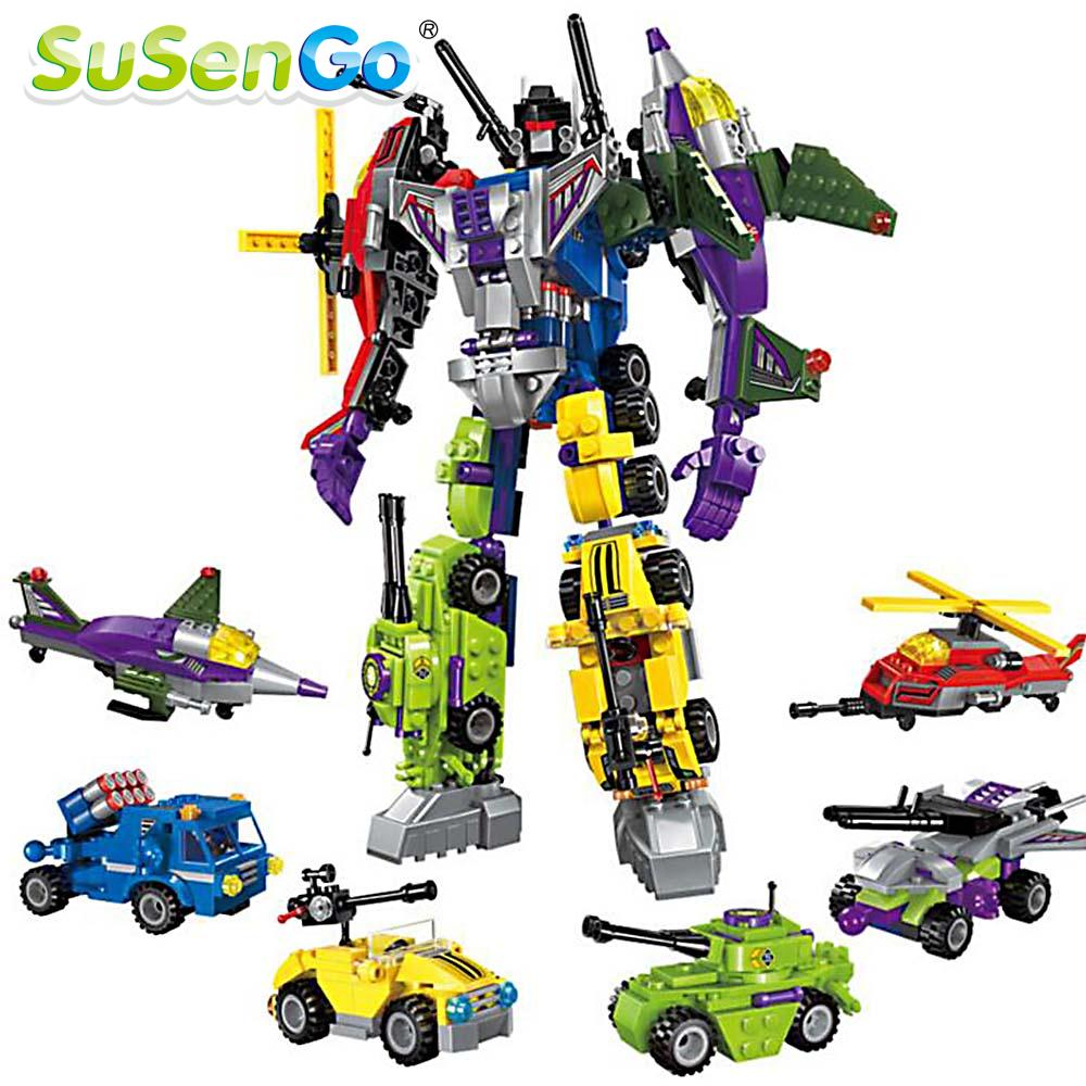 SuSenGo Super Heroes 6 IN 1 Transform Robot Building Blocks Model Kits Toy Action Figure Gundam Kids Gift building blocks super heroes back to the future doc brown and marty mcfly with skateboard wolverine toys for children gift kf197