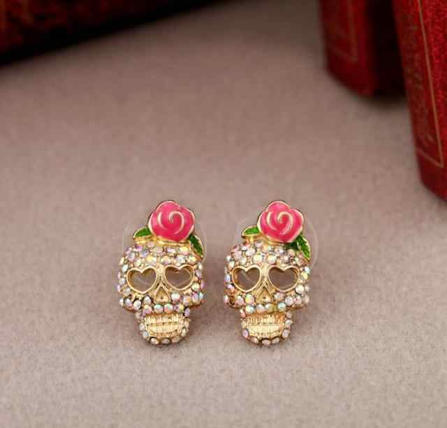 Women Fashion Accessories 1 Pair Personality Cute Pink Rose Rhinestone Skeleton Skull Ear Studs Earrings EAR-0115
