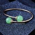 UTYLE Design Cuff Bangle Rose Gola Plated Jewellery Green Opal Rhinestone Casual Bangle Bracelet UB0147