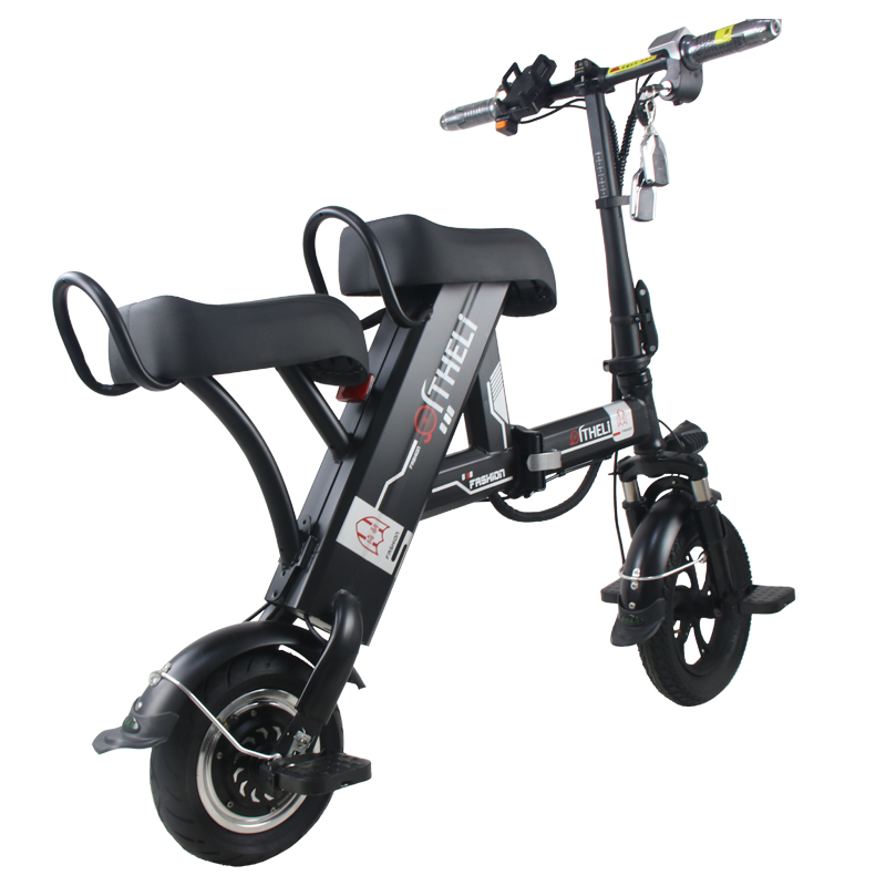 Flash Deal folding electric bike parent-child electric bicycle 12inch 2 people Folding portable ebike lithium battery electric bicycle 5