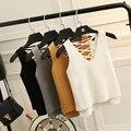 2017 mulheres harajuku versão bonito tricô verão lace-up regatas casual v pescoço t-shirt das mulheres do sexo feminino sólida topos