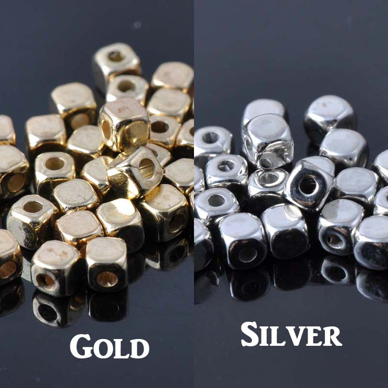4mm 1000pcs Silver Gold Plating Acrylic Cube Spacer Beads For Jewelry Making Diy Ykl0031-4mm Chills And Pains Beads
