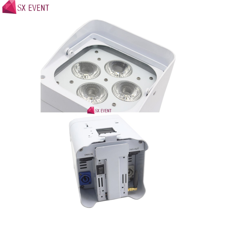 Wedding Lighting Built in 2.4G Transceiver Rechargeable Wireless DMX Battery Powered Par Can 6in1 RGBWA+UV 4*18w LED Uplighting professional 8x led par 6 18w leds smart dj s4 battery powered wireless dmx wedding uplight light rgbwa uv 6in1 party up lights