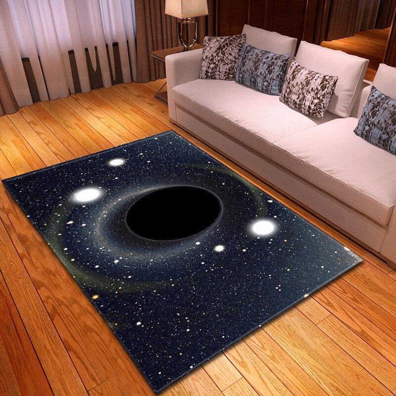 3D univers noir trou série impression tapis bébé ramper tapis enfants chambre tapis tapis doux flanelle décor à la maison tapis pour salon