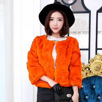 Beautiful lady wave cut natural rabbit fur coat women short design 3/4 sleeve O neck fur jacket outerwear 2019 autumn and winter