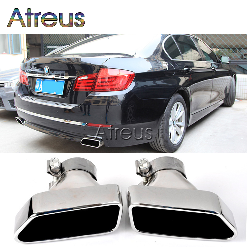 Chrome 304 Stainless Steel Car Exhaust Pipe Muffler Tip For BMW F18 F10 5-Series 2013 2014 Accessories high quality2x1x2 female tee threaded reducer pipe fittings f f f stainless steel ss304 new