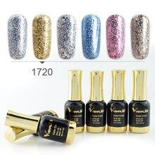6 pçs nova venalisa arte do prego 12ml arte do prego ceia diamante brilhando glitter lantejoulas série de platina estrelado unha polonês pintura gel kits