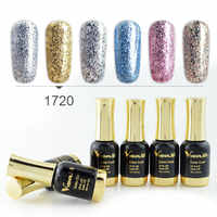 6PCS New Venalisa Nail Art 12ML Nail Art supper diamond shining glitter sequin starry platinum series nail polish paint gel kits