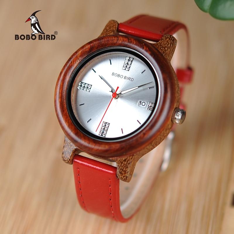 בובו ציפור נשים שעונים Relogio Feminino ריינסטון גבירותיי קוורץ שעון עם תאריך תצוגת מתנה גדולה עבור חברה W-aP29