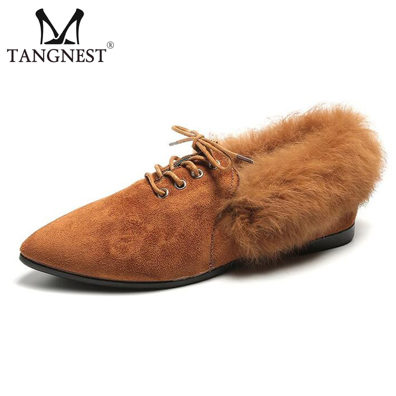 Tangnest NEW Autumn Winter Ballet Flats Women Chic Pointed Toe Suede Leather Flats Warm Fur Lace Up Cotton Shoes Woman XWD6146 tangnest new embroider women flats casual flower printed ballet flats solid pu leather leisure shoes woman size 35 40 xwc1233