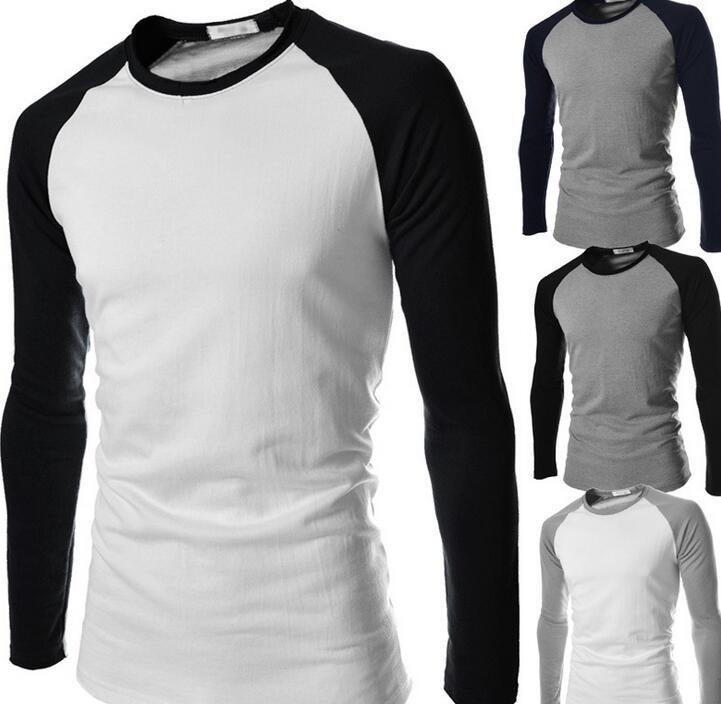 Para hombre marca moda ropa de manga larga camiseta de béisbol Sport Casual hombres  camiseta homme contraste de Color camiseta en Camisetas de La ropa de ... e1f60b2024b