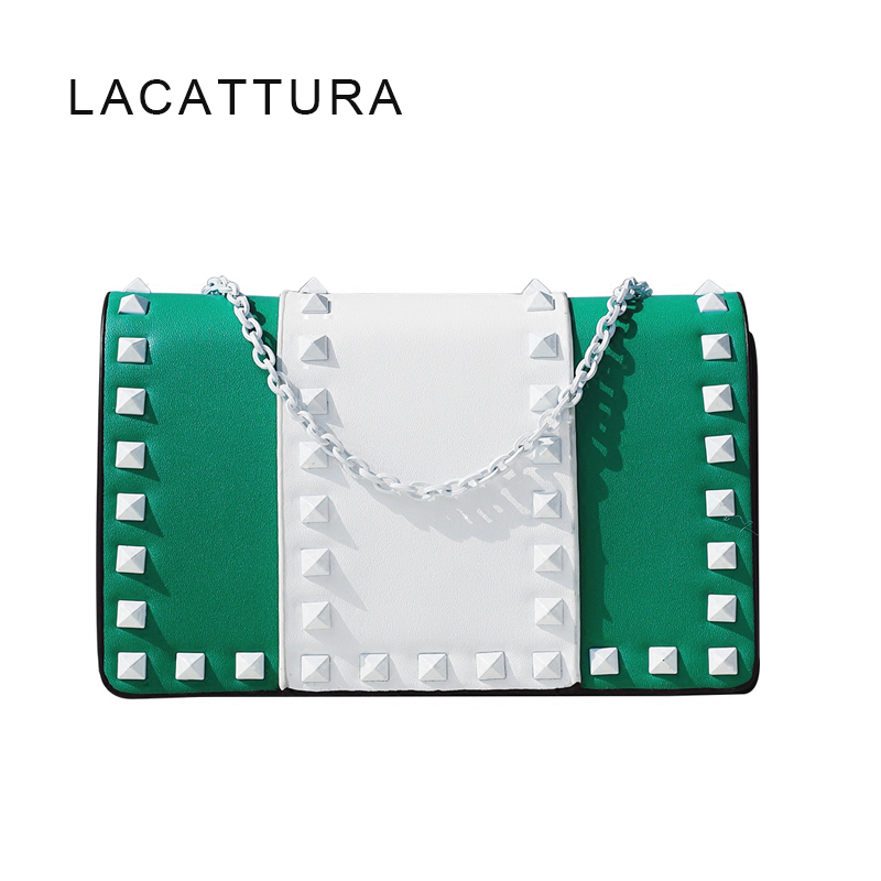 LACATTURA 2018 New Arrival Luxury Brand Design Women Messenger Bag Popular Chic Small Valen Resin Rivets Shoulder Bag Chain Flap 2016 new simple color block rivets design women s shoulder bag