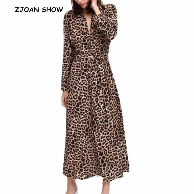 a6c784fd111 Винтажное платье с леопардовым принтом с лацканами 2018 женское платье с  бантом кимоно с завязками спереди