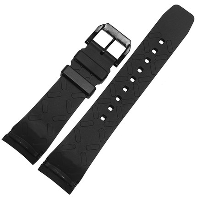 MERJUST Curved End 22mm Black Soft Silicone Rubber Watchband Strap For IWC PORTUGIESER YACHT CLUB CHRONOGRAPH IW390502 IW390209 in Watchbands from Watches