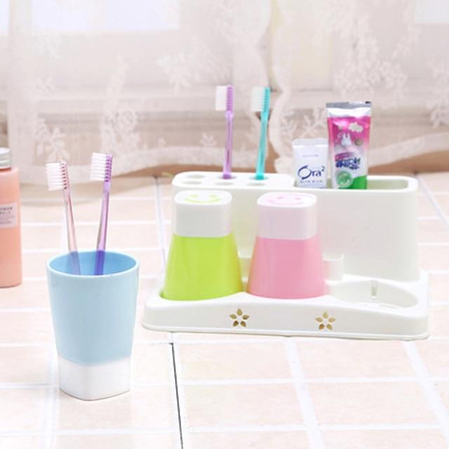 Attirant Plastic Bathroom Set Accessories 4Pcs/Set Tumbler Toothpaste Toothbrush  Holder Stand Storage Rack Bathroom Decorate