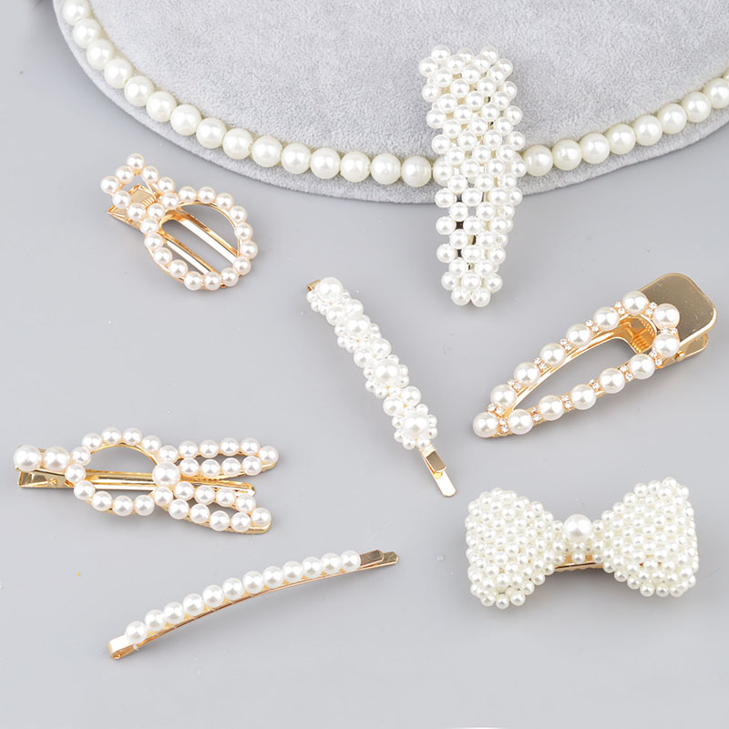 Hot Sale 2019 Women Girls Elegant Pearl Geometric Alloy Hair Clips Barrettes   Headwear   Hairpins Big Bow Hair Accessories A312