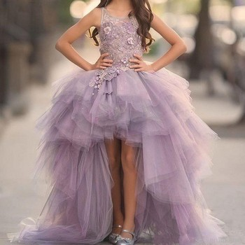 2019 Lavender High Low Girls Pageant Gowns Lace Applique Sleeveless Flower Girl Dresses For Wedding Tulle Kids Communion Dress