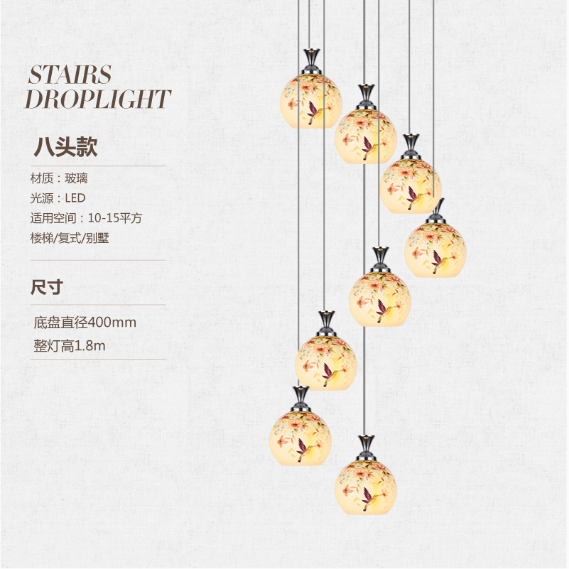 The stairs lamp rotating staircase style villa pendant light long Chinese garden dining room bedroom lamp ZL517 chinese style simple led long block crystal villa staircase pendant lamp revolving double staircase living room lighting pendant