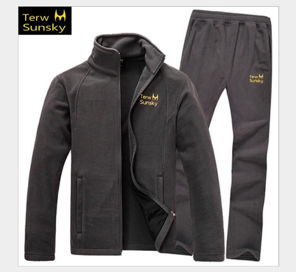 חיצוני אביב סתיו גברים מעיל ומכנסיים בגדי צמר באיכות גבוהה עובי מעיל מכנסיים ספורט טיפוס זכר חליפת סט