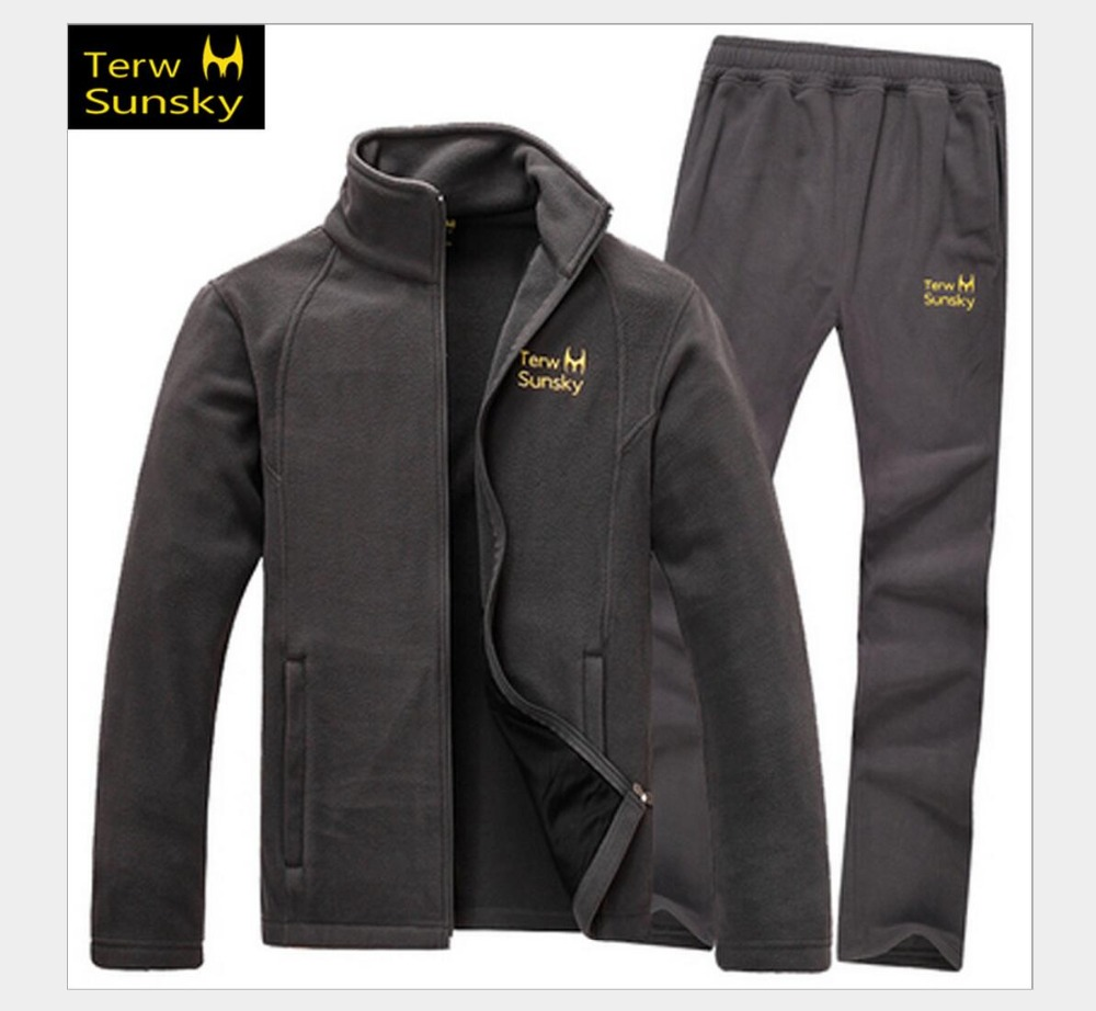 Outdoor spring autumn men coat and pants high quality fleece clothing thickness Jacket trousers sports climbing male suit set стоимость