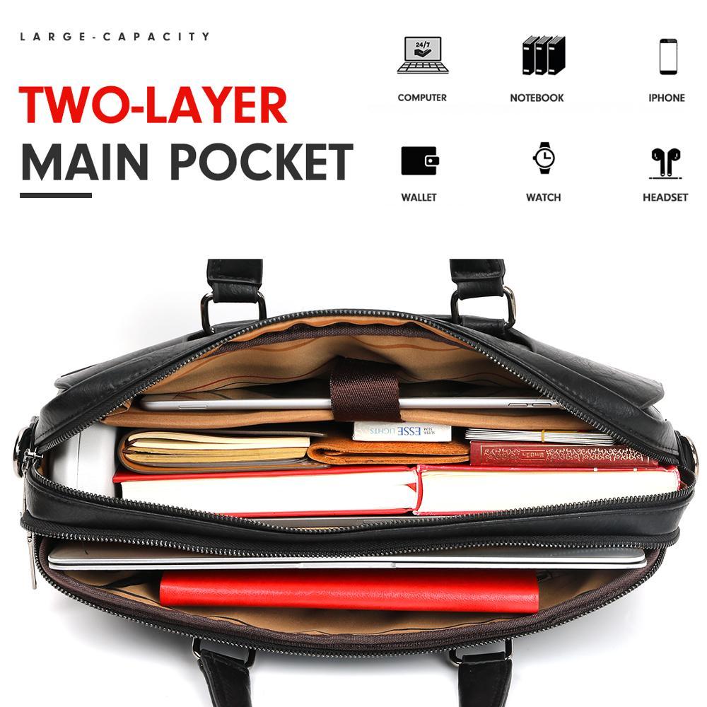 Vicuña POLO bolso de cuero de gran capacidad para hombre, bolso clásico para oficina de negocios, bolso de hombro para hombre, bolso para hombre, nueva llegada - 5