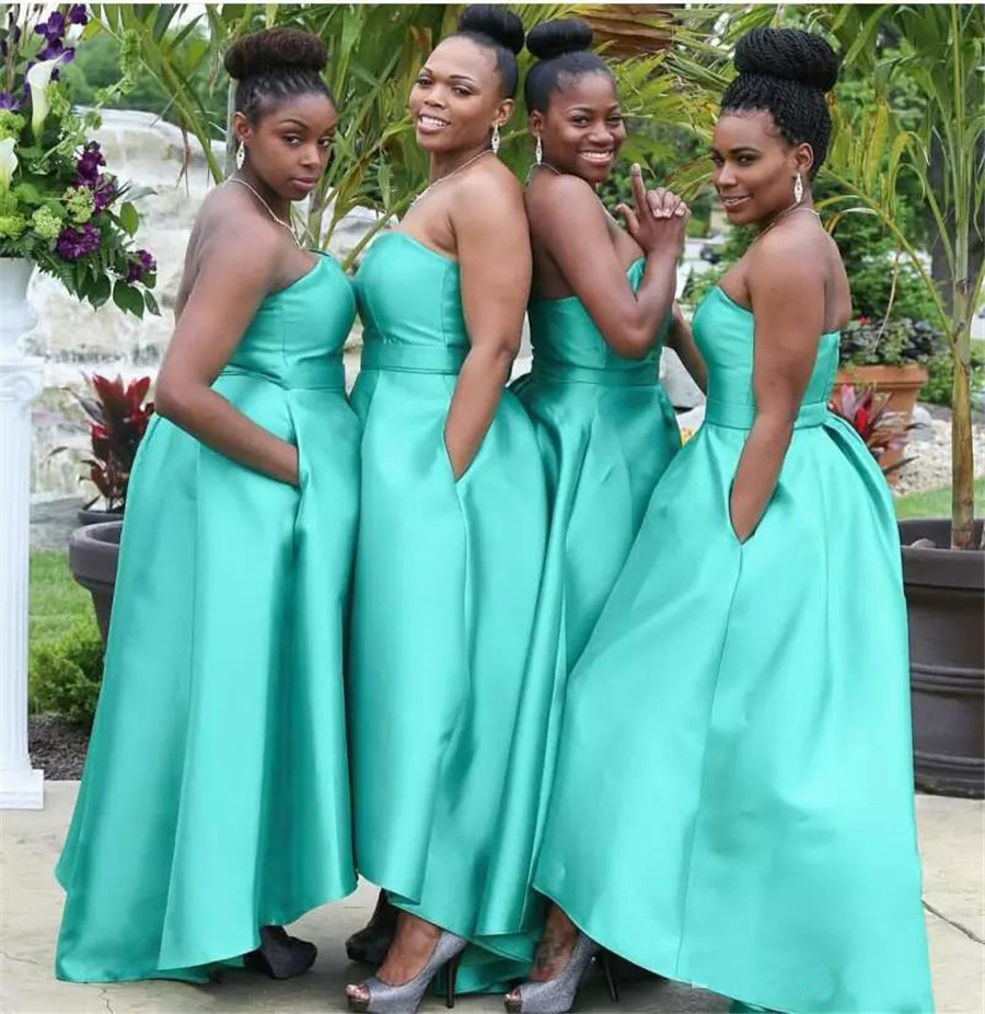 Mint Green Satin   Bridesmaid     Dresses   2019 Strapless Floor Length Custom Made   Bridesmaid   Gowns With Pockets Robe De Soiree Cheap