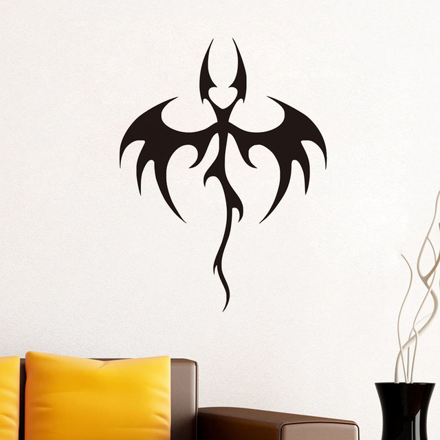 Hot Sale Animal Wall Decor Sticker Vinyl Removable Art Tribal Bat Dragon  Wall Decals Kids Decoration