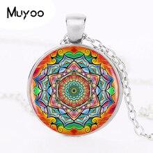 1pcs/lot Buddhism Mandala Logo Pendant Necklace Om Yoga Art Chakra Sacred Geometry Pendant Religious Jewelry Amulet Necklace HZ1
