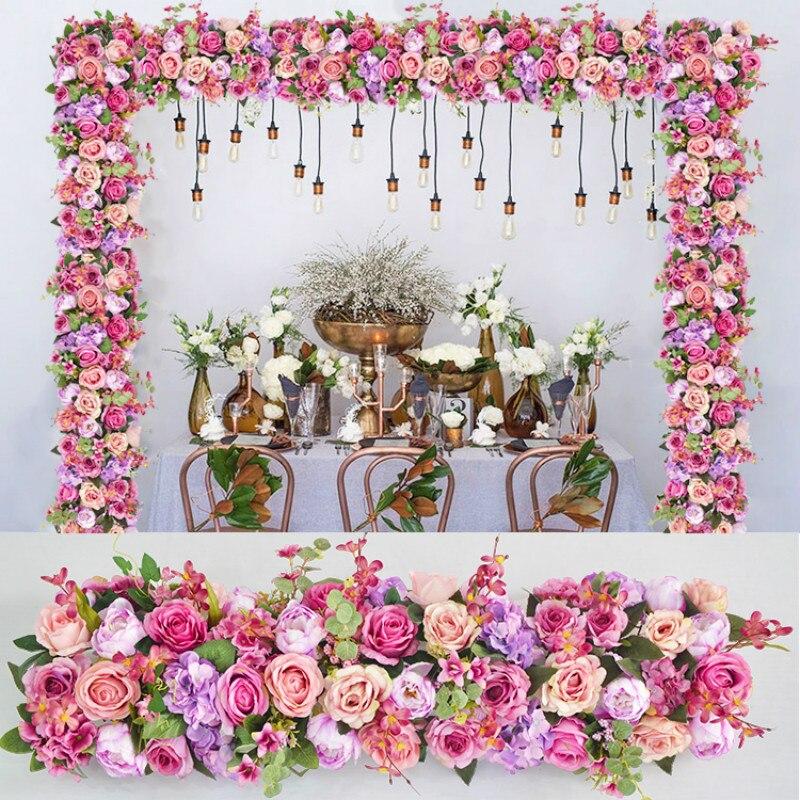 Fleurs artificielles mur mariage fond pelouse Table fleur 1 M arqué fleur route plomb maison arche décoration
