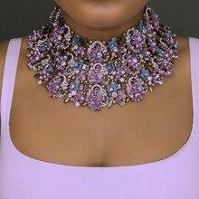 Женское фиолетовое ожерелье ручной работы, эффектное ожерелье для свадебной вечеринки, богемное блестящее колье чокер, свадебные подарки, оптовая продажа