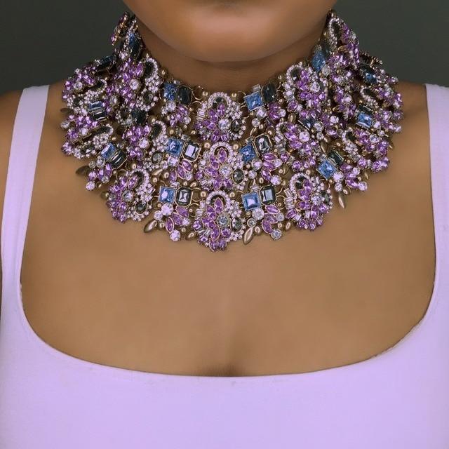 Best lady Purple Charm Women Statement Necklace Wedding Party Bohemian Handmade Shiny Choker Necklace Bridal Gifts Wholesale