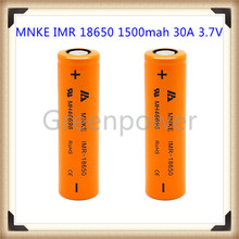 MNKE IMR 18650 1500mah 30A 3.7V rechargeable high drain battery with flat top(1 pc)