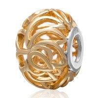 Authentic 925 Sterling Silver Hollow golden flower Bead fit for European Bangle Bracelet