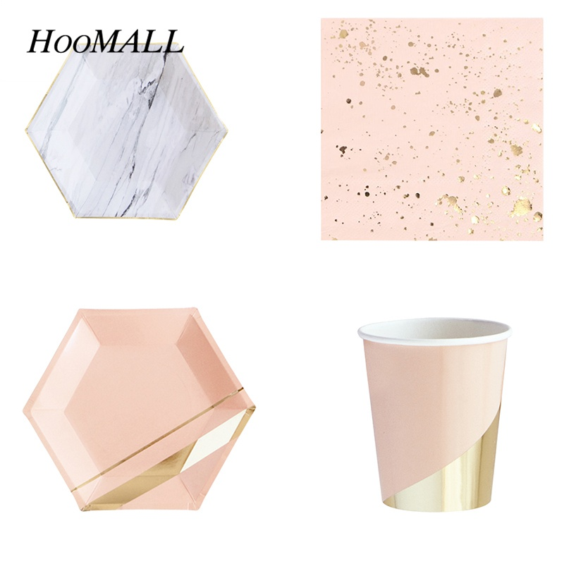 Hoomall Bronzing Disposable Tablware Set Drink Cups Food