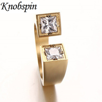Brand Unique Designe Stainless Steel Promise Wedding Rings For Men Women Black Gold Color Square Crystal