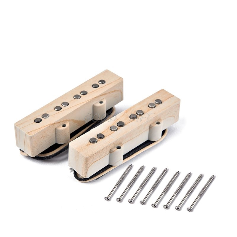 1 set 4 Sting Wood Grain alnico V single coil pickup for JB Jazz Bass Pickup Parts Accessories