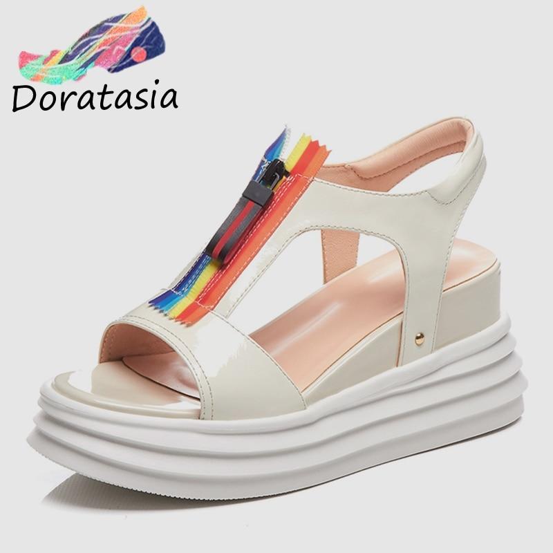 DORATASIA New Fashion 2019 High Quality Flat Platform Summer Sandals Woman Shoes Zipper Open Toe Wedge