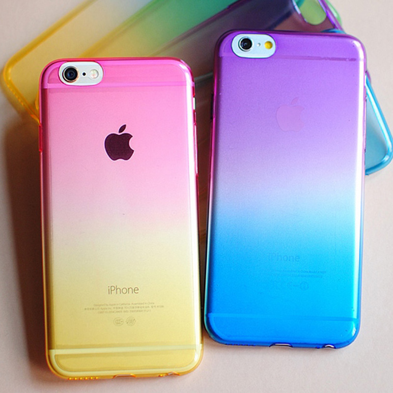 Transparent Gradual Change Ombre Colorful TPU Soft Case For iPhone 6 6s 6 Plus 5 5S SE Rainbow Ultra Slim Cover for iphone
