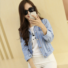 2016 Spring Autumn Long-Sleeve All-match Sexy Young Female Jackets Stripe Short Designed Denim Women Jeans Outerwear